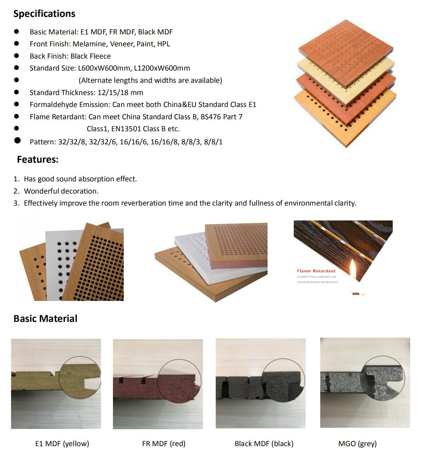 8-8-1 Perforated Wood Acoustic Panel