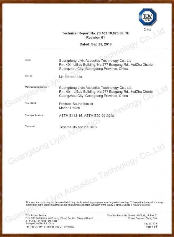 Sound Barrier Sound Insulation Report