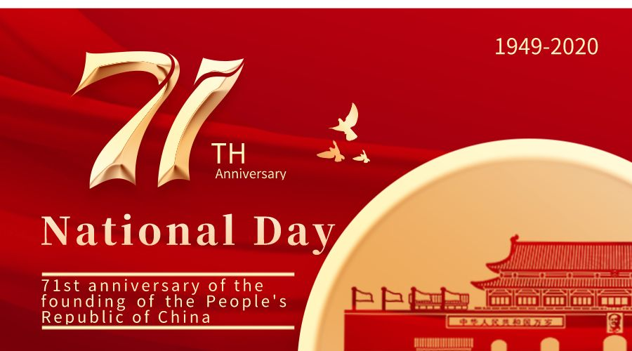 Notice for 2020 Chinese National Day and traditional Mid Autumn Festival