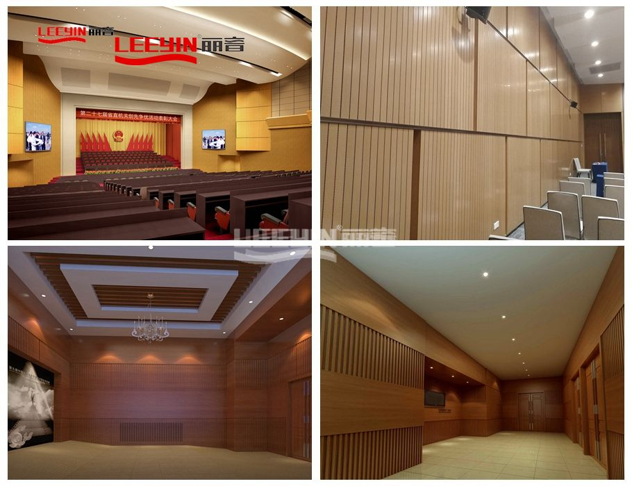 FR MDF sound noise absorbing materials wooden grooved acoustic board