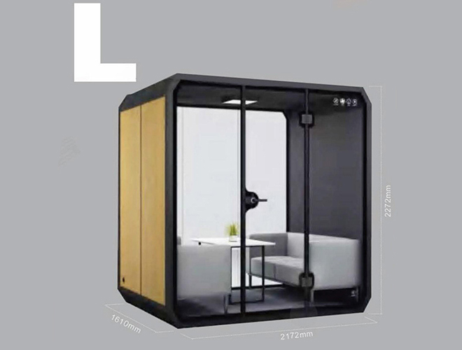 Minimalistic soundproof vocal boothfor personal space